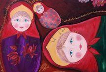 Matriochka / Tableau impression matriockas 1m x 1 m, d'après peinture à l'huile redoré à la main en relief.