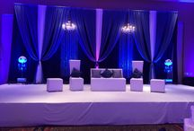 Crystal Chandelier & Crystal Curtains / Blue, White, Silver & Plum Color Scheme