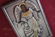 Ikony świętych - icons religious / Ikony w koszulkach srebrnych oraz metalowych