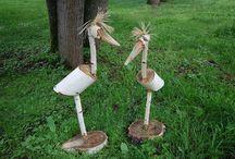 garzas en madera