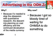 Advertising in the OOH Zone / Gordon Muller, author of Advertising in the OOH Zone, recently presented a talk on the topic of out of home advertising in South Africa. We've created a board giving the highlights of his presentation in short form.