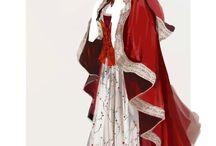 Belle red cape dress