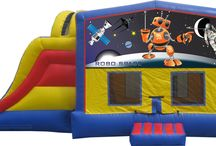 Extreme Bouncer WITH Water Slide! / The extreme bouncer with water slide and pool is a unique inflatable bounce house. This unit can display a banner to fit the theme of your event, check out the many banner options here or at www.abouncybear.com!