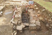 Romano British Corn Weight with Inscription Somerset / Corn weight with Roman inscription found on villa site in Somerset