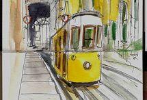 urban sketch aquarela