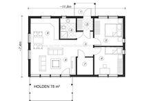 Plan de maison Holden / Le plan de maison Holden fait 78 m² avec possibilité d'ajouter une plateforme pour un espace détente ou couchage d'appoint. Le style de la maison peut être réalisé selon vos goûts, de même le plan peut être modifié pour s'adapter à vos besoins ainsi qu'à la configuration de votre terrain.