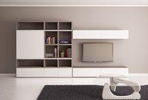 Obývací stěna a knihovna