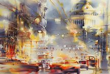 Watercolor Cityscapes