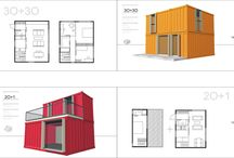 Containers / architectures with prefabricated containers