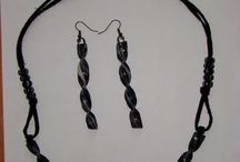 Black and white polymer clay jewelry / Handmade polymer clay jewelry.