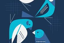 ilustracje ptaki motyle