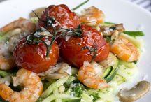 Gezonde maaltijden / Courgetti, met garnalen en tomaatjes