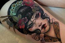 neotraditional geisha tattoo
