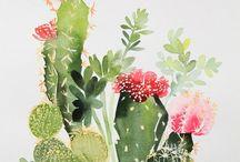 acuarelas de plantas