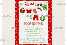 Christmas Santa Baby Clothes Line Shower / This collection features a red and green santa themed baby clothes line on a red snowflake background.