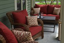 Outdoor furniture red cushions