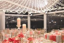 Coral + Gold Whimsical Wedding / This beautiful coral and gold wedding, under a canopy of fairy lights, tables set with gold rimmed glass charger plates, coral runners and napkins. Glass candlesticks and coral florals in gold crackle mercury vases. Our vintage gold elevations added height to the table. The addition of soft candlelight was added with soft gold mercury tealight votives. The look was complete with custom menus, placecards and directional signage. Youtube:https://www.youtube.com/watch?v=XtpreWO0c6E&feature=youtu.be