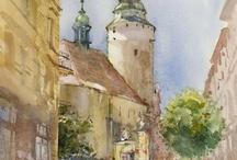 akvarel stavby