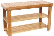 Bamboo Rack Seat Shoes Rustic Shelf Bench Wooden Varnish Home Bath 90x42x35