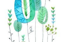 растения акварелью