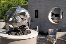 Commissioned Orb Fire Sculpture / Made from stainless steel and mounted over a pedestal with flames powered by propane. Visit www.abstractmetaldesign.com for more art from Dustin Miller