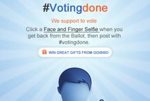 VotingDone / Let the world know when Votingdone. Click a Face and Finger Selfie when you get back from the Ballot, then post with #votingdone to win great gifts from goibibo. http://bit.ly/votingdone