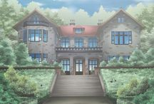 anime buildings and landscapes