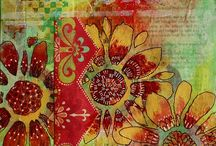 DIY - Art, gelli plate prints