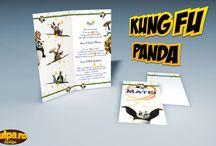 Invitatie pentru botez Kung Fu Panda / Invitație de botez modernă cu tema Kung Fu Panda. O invitație de botez perfectă pentru băieței.  În preț intră invitația și plicul, care se pot personaliza la cerere, gratuit.