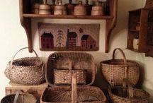 Vintage Baskets / Vintage baskets, egg crates, wire baskets repurposed for farmhouse style decor.