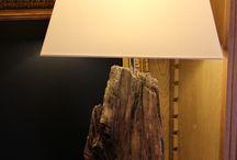 Lampe en bois  / Lampe avec abat-jour tissu