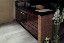 projekty wnętrz - mieszkalne / cegła, deski, płytki