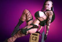 0011 3DXArt / 3DXart, 3D, women, digital art, zombie, killer, tattoo, cyber punk, android, warrior, gun, girls, space ninja warriors, team, scifi beauty series,