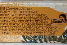 Ingredientes das fórmulas / Lista de ingredientes das fórmulas de cosméticos e maquiagens.