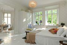 Bedroom Scandinavian interior design / Inspiration for Scandinavian interior design mostly from Swedish real estate websites