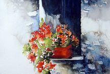 akvarell, olaj festmények