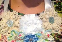 Fabric necklaces / Flower fabric necklaces