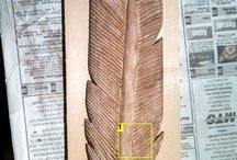 Carving a feather