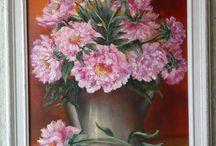 Bouquet campagnard,pivoines dans vieille cafetière !