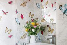 Papel pintado para el baño / Decoración de cuartos de baño con papel pintado.