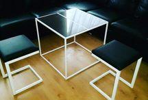 Metal table with granite