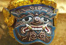 Kriegermaske im Königspalast in Bangkok