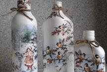 servítky na fľaši -dozdobene voskom