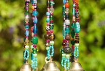 Brass bell + bead wind chimes