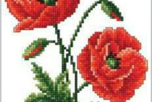 red poppies cross stitch