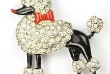 Poodle brooches and pins