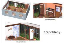Design interiéru - hostinec / Návrh pro klienty firmy TON a.s. - na dálku, všechny požadavky pouze přes prostředníka