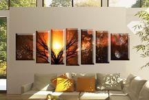 Tablouri moderne din 7 piese / Tablouri decorative multicanvas intinse pe sasiu din lemn.