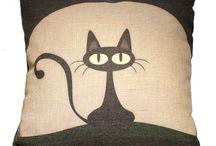 mystical black cat pillow