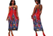 Letní šaty bez ramínek s motivm pavích ok červené